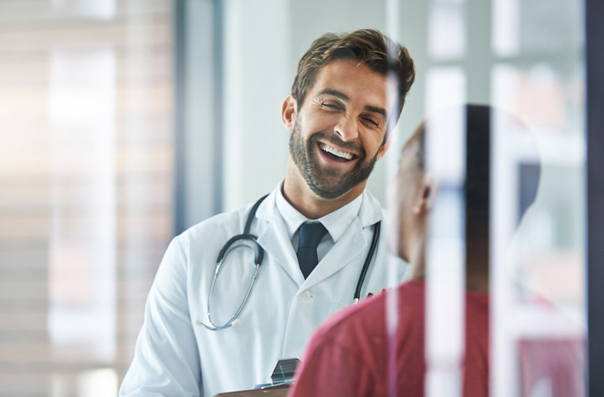 Happy physician working for a facility with good provider retention